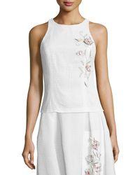 Sachin & Babi - White Sleeveless Embroidered Eyelet Crop Top - Lyst