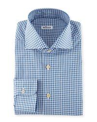 Kiton - Blue Box-check Woven Dress Shirt for Men - Lyst