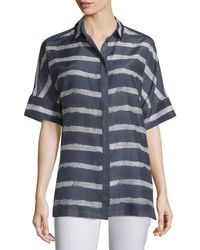 Lafayette 148 New York | Blue Andra Short-sleeve Striped Blouse | Lyst