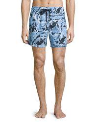 Vilebrequin | Blue Moorea Paint-splatter Print Swim Trunks for Men | Lyst