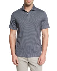 Ermenegildo Zegna - Blue Micro-striped Cotton-blend Short-sleeve Polo Shirt for Men - Lyst