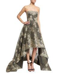 Monique Lhuillier | Multicolor Strapless Bonded Lace High-low Gown | Lyst