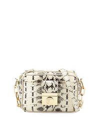 Versace - Natural Snake-embossed Leather Crossbody Bag - Lyst