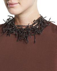Brunello Cucinelli | Black Beaded Branch Choker Necklace | Lyst