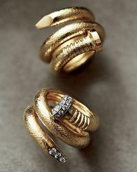 David Webb - Metallic 18k Diamond Hammered Nail-shaped Ring - Lyst