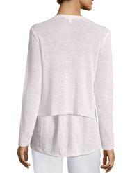 Eileen Fisher | White Draped-front Organic Linen Cardigan | Lyst