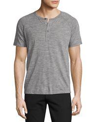 Theory | Gray Adrik Wool Jersey Short-sleeve Henley for Men | Lyst