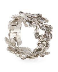 Oscar de la Renta - Metallic Gradient Crystal Flower Bracelet - Lyst