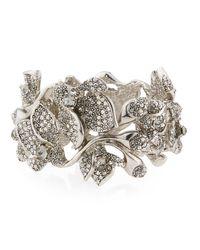 Oscar de la Renta   Metallic Gradient Crystal Flower Bracelet   Lyst