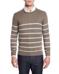Neiman Marcus | Gray Cashmere-cotton Striped Crewneck Sweater for Men | Lyst