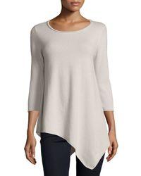 Neiman Marcus | Multicolor Three-quarter-sleeve Asymmetric Cashmere Top | Lyst