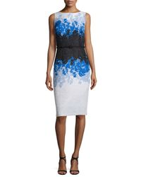 David Meister - Multicolor Sleeveless Floral Ombre Sheath Dress - Lyst