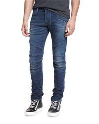 Balmain | Blue Skinny-fit Distressed Biker Denim Jeans for Men | Lyst