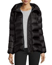 Moncler | Black Serinde Hooded Short Puffer Jacket | Lyst