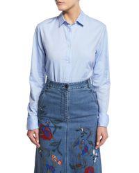 Tibi   Blue Long-sleeve Oxford Shirting Bodysuit   Lyst