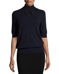 Michael Kors - Black Half-sleeve Mock-neck Embellished Sweater - Lyst