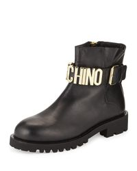 Moschino | Black Leather Combat Boot W/logo Lettering for Men | Lyst