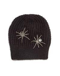 Jennifer Behr | Black Double Crystal Spider Knit Beanie Hat | Lyst