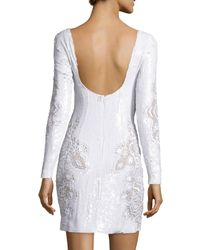 Zuhair Murad White Long-sleeve Sequined Lace Cocktail Dress