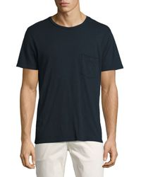 7 For All Mankind | Blue Raw-pocket Crewneck T-shirt for Men | Lyst