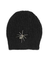 Jennifer Behr - Black Crystal Spider Knit Beanie Hat - Lyst