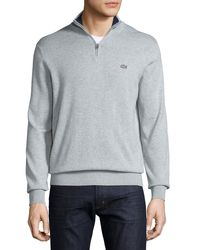 Lacoste | Gray Classic Quarter-zip Jersey Sweater for Men | Lyst