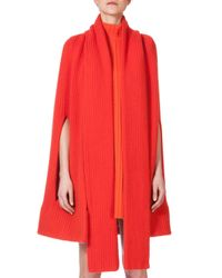 Akris | Orange Ribbed Cashmere Knit Cape | Lyst