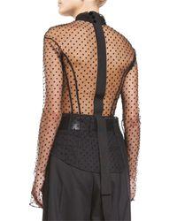 Marc Jacobs - Black Swiss-dot Tie-neck Blouse - Lyst