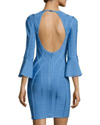Hervé Léger | Blue 3/4 Flutter-sleeve Bandage Dress | Lyst