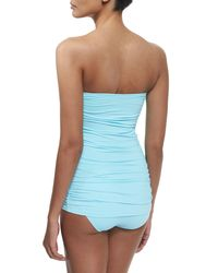 Tommy Bahama - Blue Shirred Twist-front One-piece Swimsuit - Lyst
