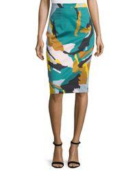 MILLY - Blue Modern Camo-print Midi Skirt - Lyst