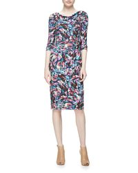 David Meister   Multicolor Long-sleeve Confetti Jersey Sheath Dress   Lyst