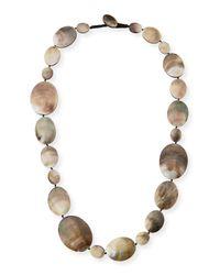 Viktoria Hayman - Metallic Long Shell Disc Necklace - Lyst