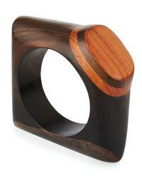 Viktoria Hayman - Brown Wooden Knuckle Bangle Bracelet - Lyst