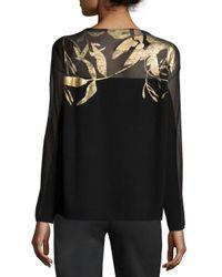Lafayette 148 New York - Black Semi-sheer Bateau-Neck Jacquard Lace Sweater - Lyst
