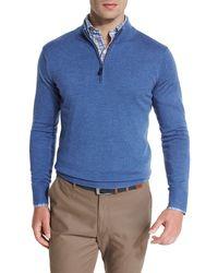 Peter Millar - Blue Merino Quarter-zip Sweater for Men - Lyst