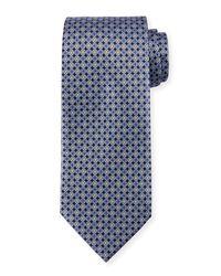Ermenegildo Zegna | Blue Medallion-print Neat Silk Tie for Men | Lyst