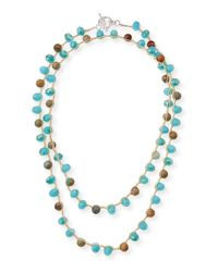 An Old Soul - Blue Snakeskin-print Jasper & Crystal Crocheted Necklace - Lyst