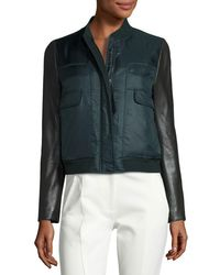 Tory Burch | Green Marly Leather-sleeve Bomber Puffer Jacket | Lyst