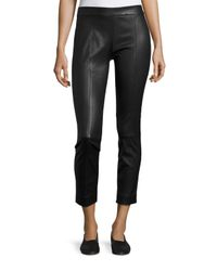 VINCE | Black Stitch-front Leather Leggings | Lyst