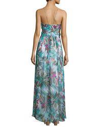Aidan Mattox - Multicolor Halter-neck Floral-print Maxi Dress - Lyst