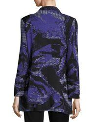 Misook - Blue Floral-print Knit Jacket - Lyst