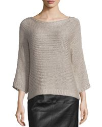 Eileen Fisher | Gray Fisher Project 3/4-sleeve Hand-knit Box Top | Lyst