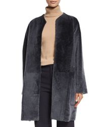 VINCE | Gray Reversible Shearling Fur Car Coat | Lyst