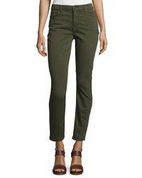 Jen7 - Green Brushed Sateen Skinny Ankle Jeans - Lyst