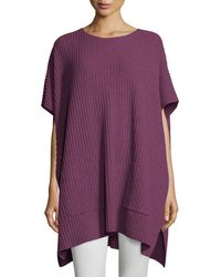 Eileen Fisher | Purple Cashmere Ribbed Easy Poncho Sweater | Lyst