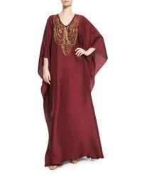 Badgley Mischka | Multicolor Necklace-beaded V-neck Caftan Gown | Lyst