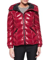 Moncler | Red Badete Short Hooded Puffer Coat | Lyst