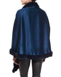 La Fiorentina - Blue Asymmetric Cashmere Wrap W/ Rabbit Fur - Lyst