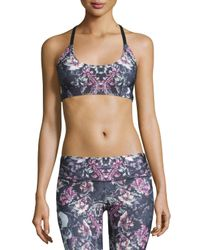 Onzie | Blue Graphic X-back Elastic Sports Bra | Lyst